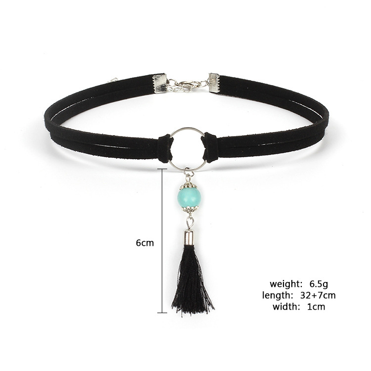 Hot-Selling Multilayer Korean Velvet Tassel Retro Choker Turquoise Pendant Necklace NHRN259961