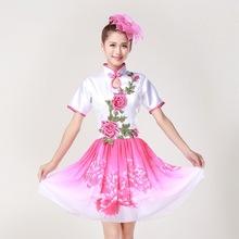 夏季成人女合唱短袖裙新款修身绣花瓣主持人晚礼服舞蹈表演出服装