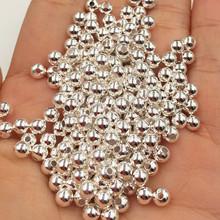 925银珠子 散珠 光珠圆珠隔珠 白铜镀厚银 保色 DIY饰品配件批发