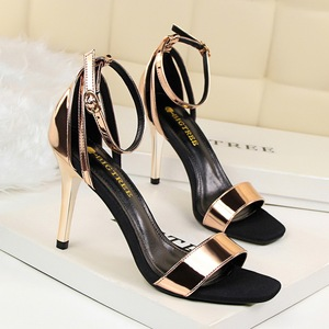 Y 105 Ankle Strap Sandal In Black And Champagne
