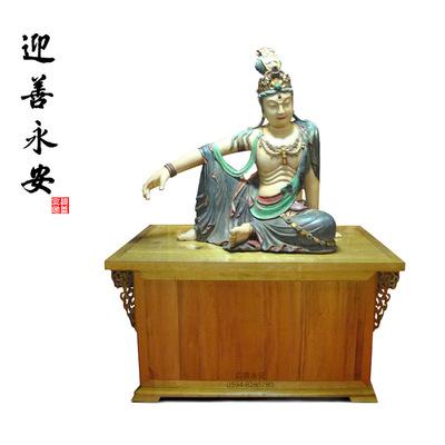 仿古自在观音菩萨木雕佛像厂家寺庙佛堂家居摆件定制 迎善永安