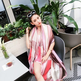 Spring and summer air conditioning sunscreen shawl Horse pattern simulation silk printing silk scarf scarf scarf female