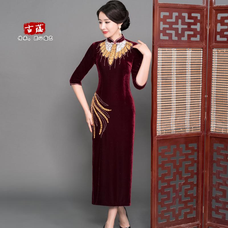 新款复古中老年旗袍 金丝绒长款钉珠旗袍 时尚连衣裙高档唐装