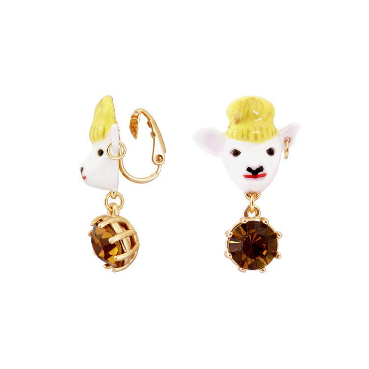 羊头--宝石耳钉耳夹_05