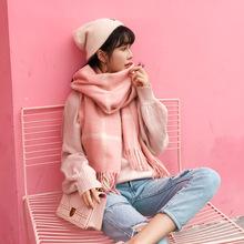 Scarf female winter thickening student long double-sided plaid imitation cashmere shawl dual-use ladies tassel scarf