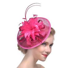 歐美爆款麻紗賽馬節發飾頭飾新娘派對羽毛頭花