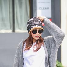 工厂批发冬季加绒保暖针织帽女士户外多功能防风头巾孕妇月子帽子