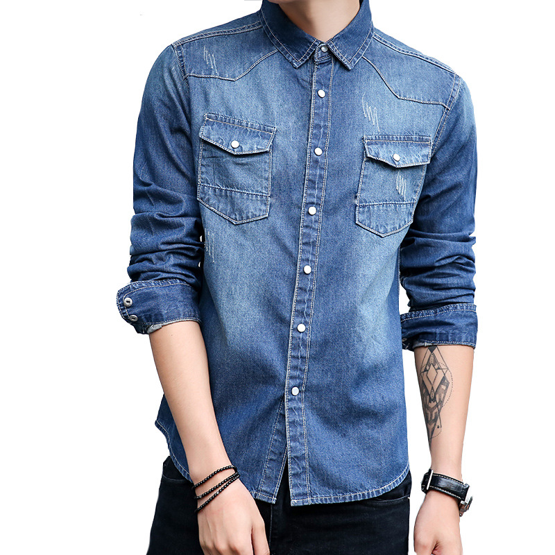 春秋新款棉韩版修身水洗男士牛仔衣长袖衬衫青少年衬衣外套批