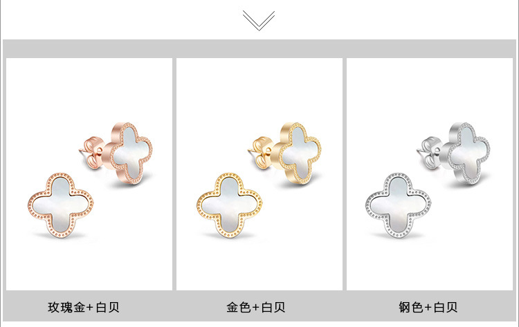 Titanium&Stainless Steel Fashion Geometric earring(Rose gold + white shell) NHOK0180-Rose-gold-white-shell