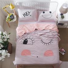 新款简约纯棉四件套超柔软水洗棉裸睡婚庆四件套床上用品1.8 2米