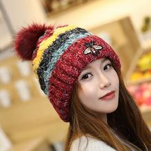 2019新款毛線帽韓國女士潮秋冬帽子創意蜜蜂針織帽加厚毛球保暖帽
