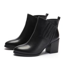 欧美时尚短靴女秋冬新款粗跟高跟鞋尖头单靴真皮女鞋马丁靴批发