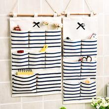廠家直銷六/八兜蝴蝶結多功能收納袋壁掛式棉麻掛袋廚房浴室整理