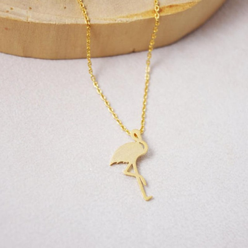 Cute animal necklace ostrich red-crowned crane pendant necklace short fine clavicle chain wholesale NHCU206509