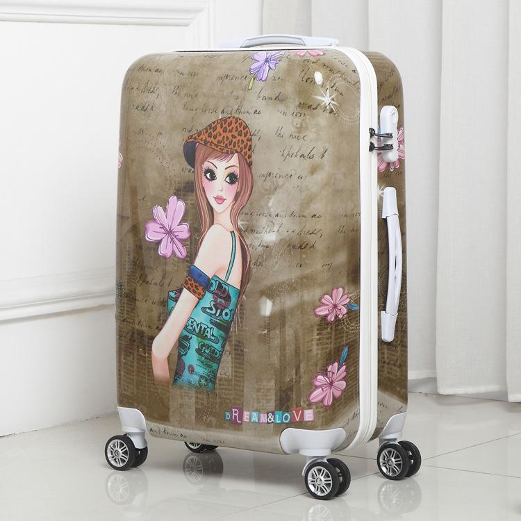 小清新学生行李箱20寸万向轮拉杆箱女韩版24寸密码箱旅行箱卡通箱