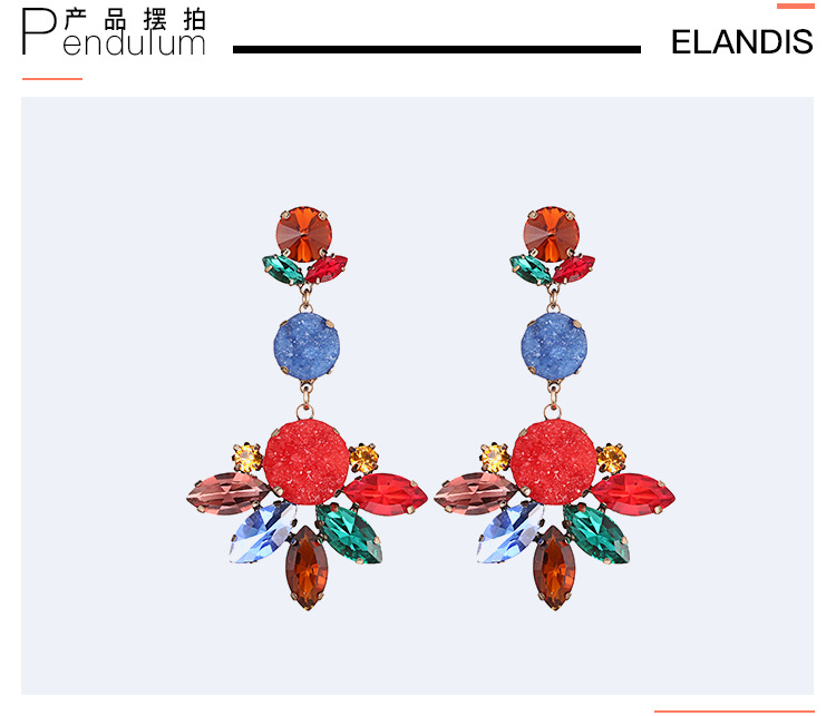 Alloy Fashion Geometric earring  (Alloy + color mixing) NHTF0167-Alloy-color-mixing