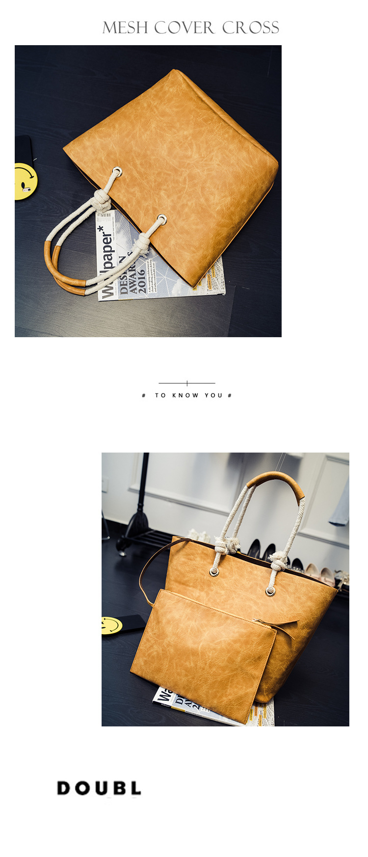 Korean version PUShoulder bag (Yellow brown)NHPB0275-Yellow brown