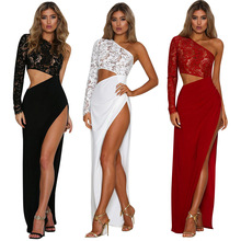 S3214 [red sold off the shelf] lace stitching shoulder asymmetric sleeve dress sexy dress three color 1