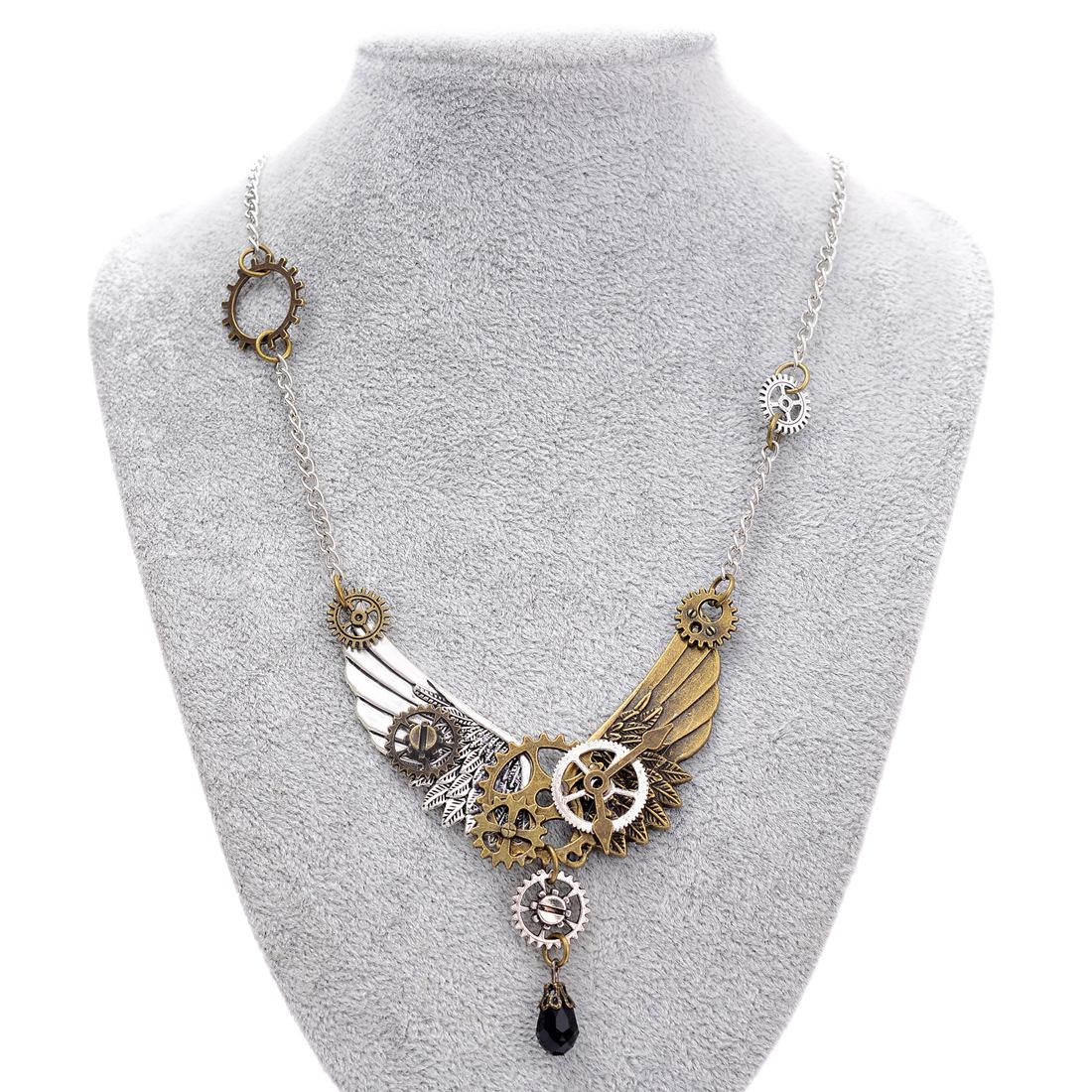 欧美外贸复古饰品 蒸汽朋克齿轮翅膀吊坠项链 速卖通亚马逊新款
