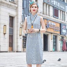 中国风2019夏季修身改良格子旗袍 中长款无袖棉麻连衣裙汉服女装