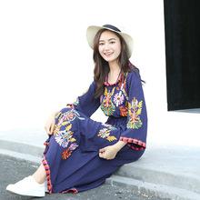 泰国民族风重工刺绣棉麻复古连衣裙旅行海边度假连衣裙长款F082