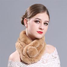 新款秋冬季时尚围巾獭兔毛加厚围脖三管保暖百搭皮草围巾厂家批发