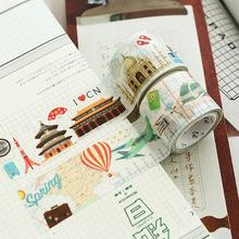 原创复古旅行系列时间轴城市地图和纸胶带 手帐DIY装饰素材