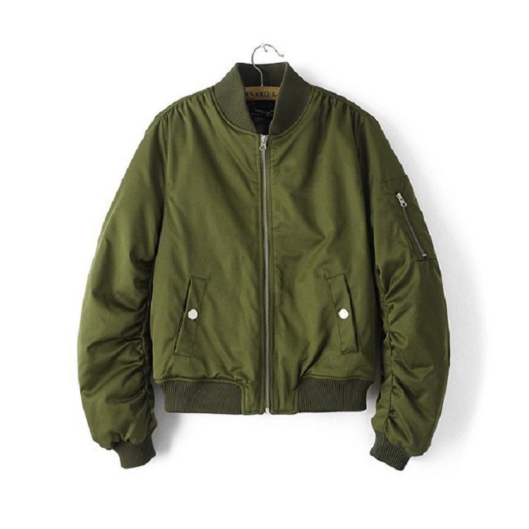 2018春秋新款欧美女装飞行员修身夹克薄款短外套 空军加棉棒球服
