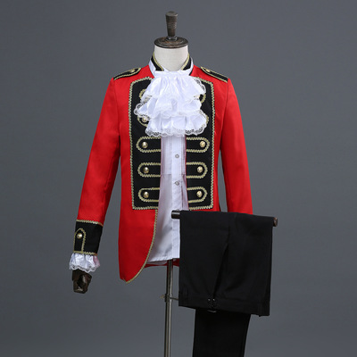 men's jazz dance suit blazers European grid red with black border court dress men military dress show dress men Red Prince dress