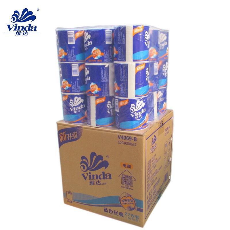 维达卫生纸140克 纸巾卷纸木浆家用有芯卷筒卫生纸厕纸 整箱包邮