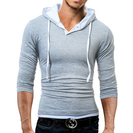 Summer trend men's new fashion casual men's hooded long-sleeved T-shirt T08