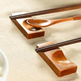 筷子托日式木质筷架创意厨房用品筷托勺枕酒店餐厅实木摆件筷子枕