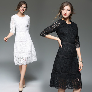 2017 new European and American Slim lace dress hollow long section Sleeve round neck dress sexy crochet