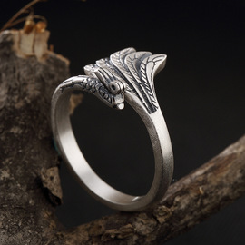 One deer silver S990 foot silver retro matte Phoenix ring high grade lady's sterling silver open ring