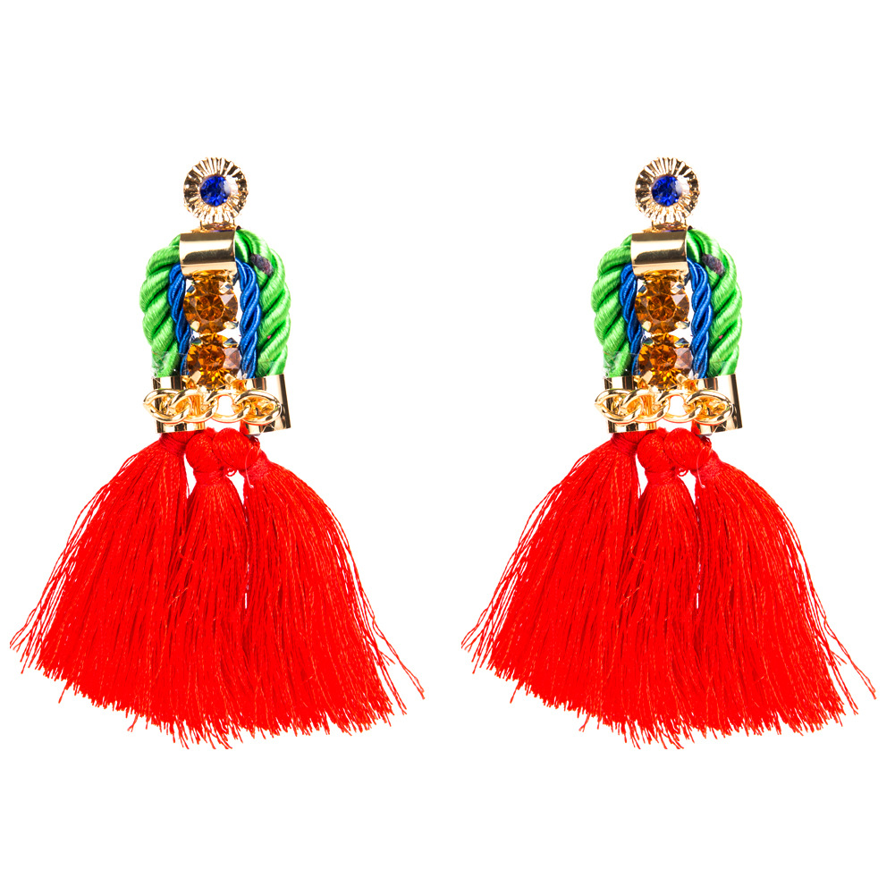 Fashion Alloy hand made earring Geometric (red)  NHJE0745-red