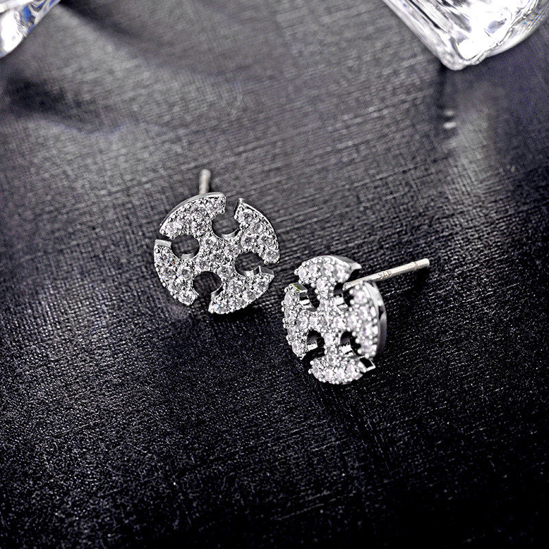 925 sterling silver needle hypoallergenic Korean simple micro inlaid zircon earrings jewelry wholesale NHLJ184571