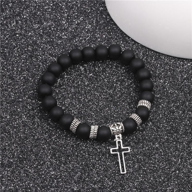 Yoga beads energy natural stone bracelet frosted stone volcanic stone cross bracelet NHYL183942
