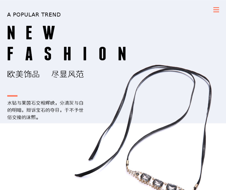 Fashion OL metal Diamond necklace (Golden gray)NHNTF1266-Golden gray