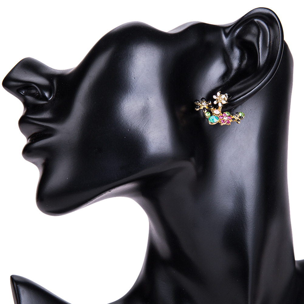 Fashion Alloy Rhinestone earring Flowers (color)  NHJE0944-color