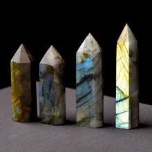 厂家批发天然拉长石灰月光石水晶柱 六角棱原石摆件特价产地批发