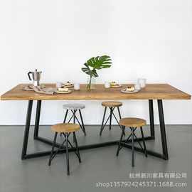实木办公桌椅简约铁艺公司职员会议桌电脑椅组合员工桌长条桌子