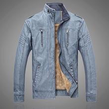 速卖通2017冬季跨境男士皮衣复古水洗四代PU加绒皮衣夹克外套男装