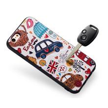 创意黑胶浮雕卡通手机壳iphone6彩绘苹果6s Plus保护套软壳7