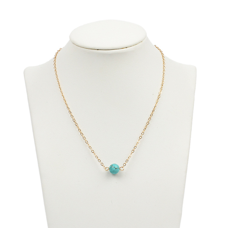 Fashion all-match turquoise beads pendant short clavicle necklace NHRN268430