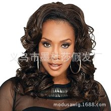 Foreign trade hot wig European and American women's fashion partial division bangs mixed color medium and long curly hair set 7590