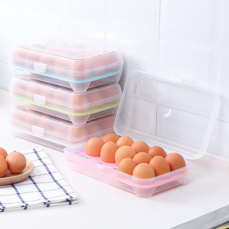 厨房15格鸡蛋盒冰箱保鲜盒便携野餐鸡蛋收纳盒塑料鸡蛋盒蛋托蛋格