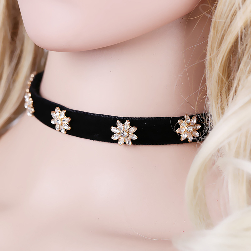 Fashion Alloy plating necklace Flowers (black)NHKM2506-black