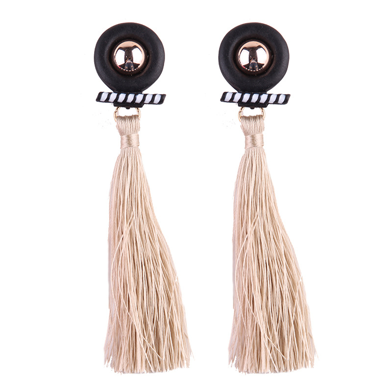 Occident and the United States alloy hand made earring (pale pinkish gray)NHJQ9169-pale pinkish gray
