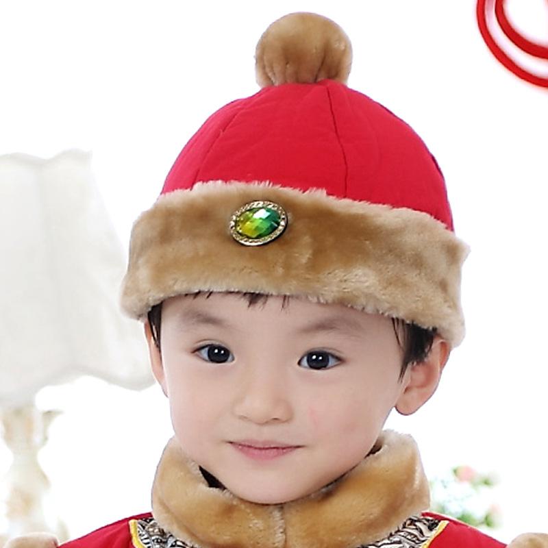 儿童唐装帽子男童新年中国风古装帽1-6岁冬季保暖表演节日生日送