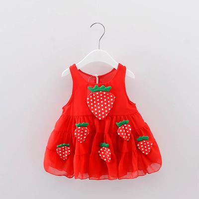 2018 mùa hè cô gái váy 1-4 năm tuổi bé bé voan dâu tây ăn mặc trẻ sơ sinh con vest váy bán buôn